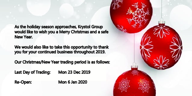 2019/20 Krystol Group Holiday Trading